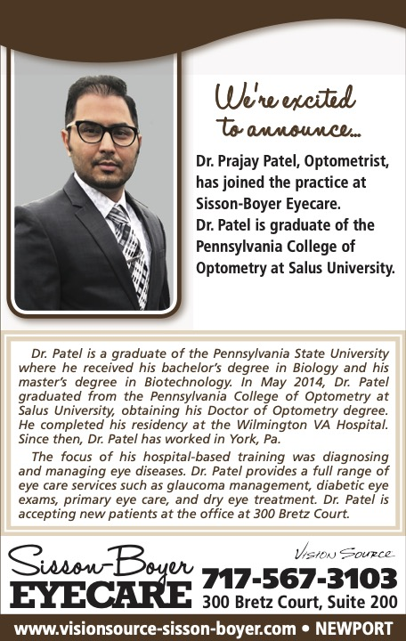We are excited to announce that Dr. Prajay Patel has joined Sisson-Boyer Eyecare.